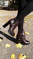 Ботинки Б-1664 из натуральной кожа темно коричневого цвета