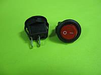 Переключатель ON-OFF ( 250VAC) SPST 2P, красный, круглый d=14