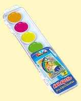 """Акварель Медовая полусухая """"Хобби"""" 7 цветов .флуоресцентная, с кисточкой, пластиковая упаковка"""