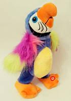 Большой говорящий попугай! 30 см! Машет крыльями, поет, повторюшка! интерактивный попугай