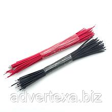 100 штук луженых соединительных кабелей. Провода 96 мм. черные и красные