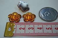 Камень с гранями цветок  на клей 15 мм желтый