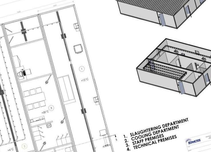 Как и любое строительство - модульное предприятие начинается с проекта. Для строительства модулей используется несущий ST-сендвич элемент, производимый Kometos, разработанный и сертифицированный для требований пищевой промышленности.