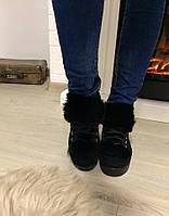 Стильные женские ботинки на плоской подошве с меховым язычком, утеплены байкой. Цвет черный