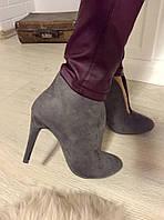 Стильные женские замшевые ботильоны на высоком каблуку, материал искусств. замша. Серый цвет