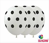 """Латексные воздушные шарики горох на белом 12"""" (30 см)  ТМ Show"""