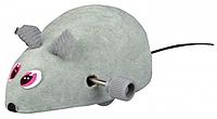 Заводная игрушка для кошек, мышка на колесиках, велюр, 6см