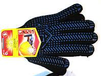 Перчатки рабочие х/б черная с пвх покрытием