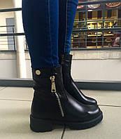 Стильные женские ботинки Casual на плоской подошве, натуральная кожа. Сбоку декор молния. Черный цвет