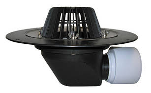 Воронка Hutterer & Lechner с листвоуловителем с теплоизоляцией, фланцем из нержавеющей стали и горизонтальным выпуском HL64