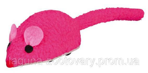 """Яркая механическая игрушка """"Спиди Маус"""" для кошек, мышка на колесиках, флис, 6см, фото 2"""