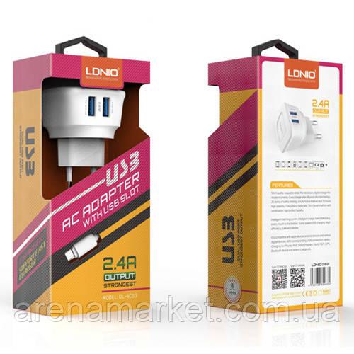 LDNIO DL-AC63 зарядний пристрій мережевий з двома входами USB 5V/2.4 А і Lightning кабелем