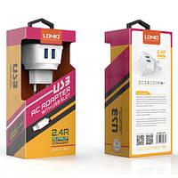 LDNIO DL-AC63 зарядное устройство сетевое с двумя USB входами 5V/2.4А и Micro USB кабелем, фото 1