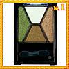 """Тени """"Qianyu"""" MS 040  Четырехцветные Коричнево - Зеленые Атласные Компактные тон 1"""