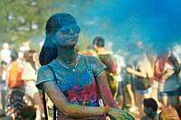 Фарба Холі (Краска Холи, Гулал), Синя, від 1 кг., суха порошкова фарба для фествиалів, флешмобів, фото