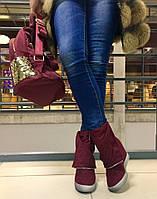 Стильные женские ботинки на скрытой платформе 8 см., молнии рабочие. Материал искусств. замша. Цвет марсала