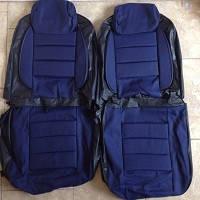 Модельні чохли Pilot ВАЗ 2103/06 чорний кожзам + тканина синя, підголовники знімні