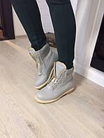 Стильные женские ботинки в стиле Balmain спереди на молнии, внутри утеплены байкой. Серый цвет