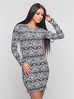 Трикотажное женское платье без застежек с длинным рукавом 90138/1