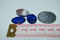 Камень овал грани   на клей  18 мм  синий
