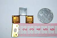 Камень квадрат грани   на клей  10 на 10 мм  желтый