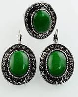 592 - Бижутерия-Комплект Хризопраз серьги и кольцо