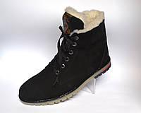 Кожаные зимние мужские ботинки нубук натуральные Rosso Avangard. Whisper Black Nub черные