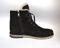 Подростковая зимняя обувь для мальчиков Teendream ботинки нубук натуральные Whisper Black Nub черные