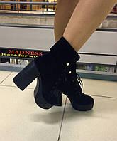 Стильные женские ботинки натуральный замш на платформе и каблуку 11 см. На шнуровке