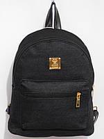 Рюкзак джинсовый с квадратным логотипом черный, фото 1