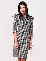 Приталенное женское платье с оригинальным принтом рукав три четверти 90136
