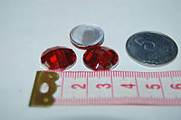 Камень круг на клей  14 мм красный