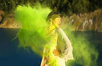 Фарба Холі (Гулал), Лимонна, 50 грам, суха порошкова фарба для фестивалів, флешмобів, фото 1