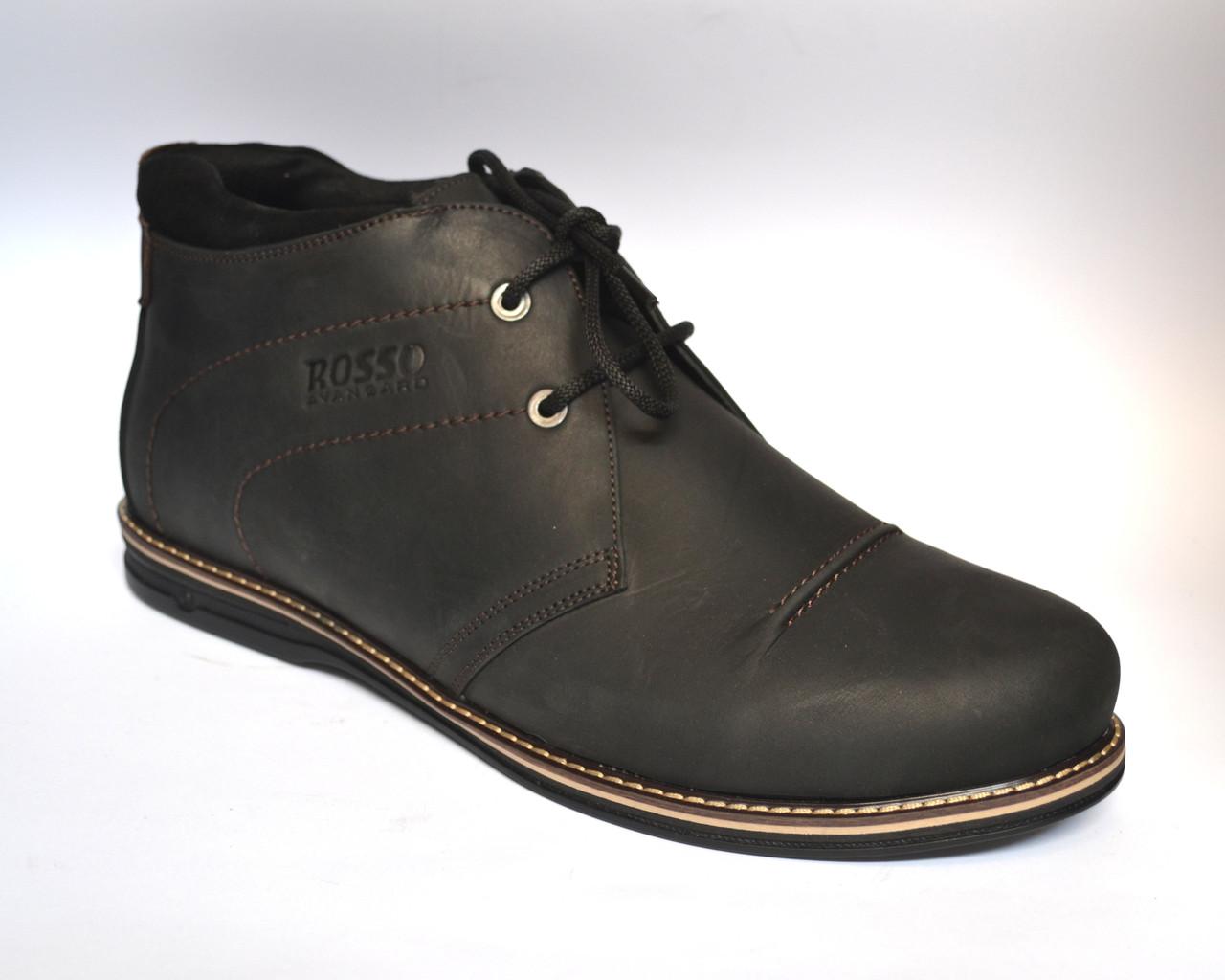 Большой размер кожаные зимние мужские ботинки дезерты черные Rosso Avangard WinterkingZ Big Black Barbieri