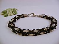 Мужской браслет из  нержавеющей стали, серебристо-черный