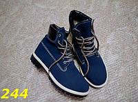 Женские зимние ботинки Timbeland со шнурками синие