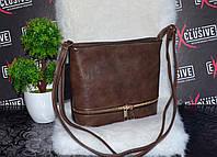Стильная коричневая сумочка с молнией. , фото 1
