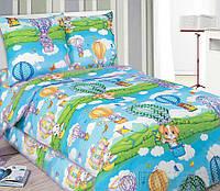 Подростковое полуторное постельное белье с простыней на резинке 90*200*25 - Путешествие, поплин