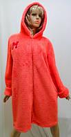Махровый женский халат на змейке с капюшоном коралловый