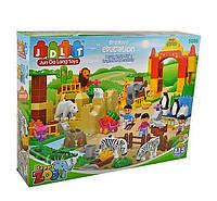 Конструктор JDLT 5096, Зоопарк, 115 деталей, животные, человечки, жилище, растения, в коробке 60*45*12,5 см