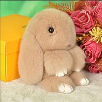 Брелок кролик Rex Fendi из натурального меха 13 см - цвет бежевый
