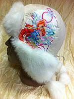 Ушанка для девочек из плащёвки с белым мехом размер 51-52