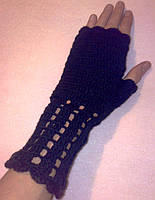 Митенки перчатки без пальцев черные