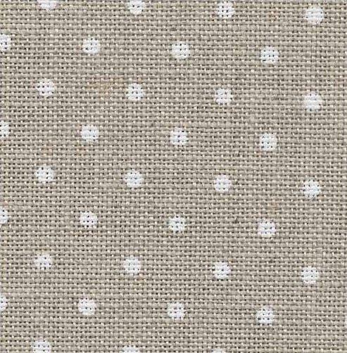 Ткань для вышивки Zweigart 3609/5379 Belfast Petit Point 32ct, цвет сырого льна в белый горошек