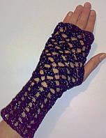 Митенки перчатки без пальцев черные с люриксом