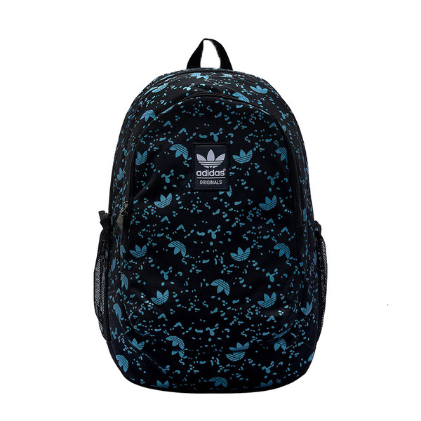 Рюкзак Adidas черный с мелкими голубыми логотипами (реплика)