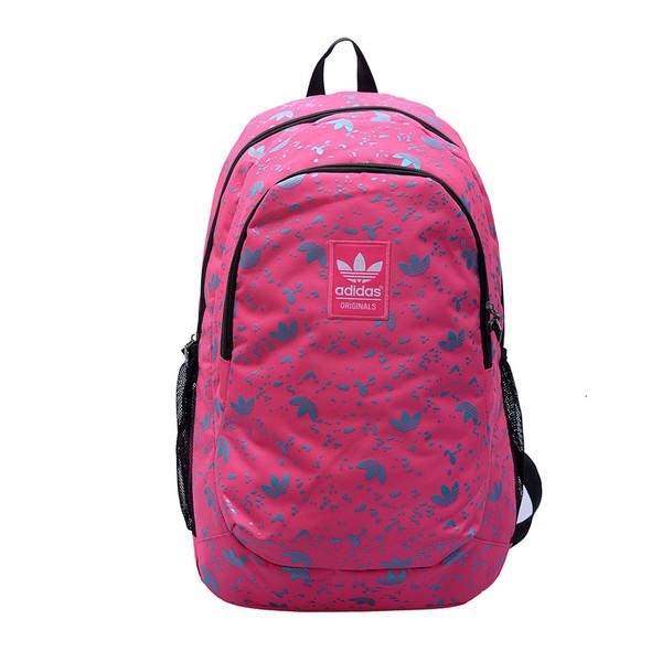 Рюкзак Adidas розовый с мелкими голубыми логотипами  (реплика)