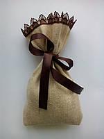 Подарочный мешочек из мешковины размер 10*17 см