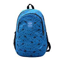 Рюкзак Adidas голубой с мелкими черными логотипами