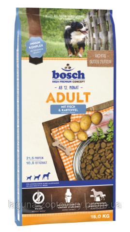 Корм для  взрослых собак Бош (Рыба+картофель) 15кг/новый